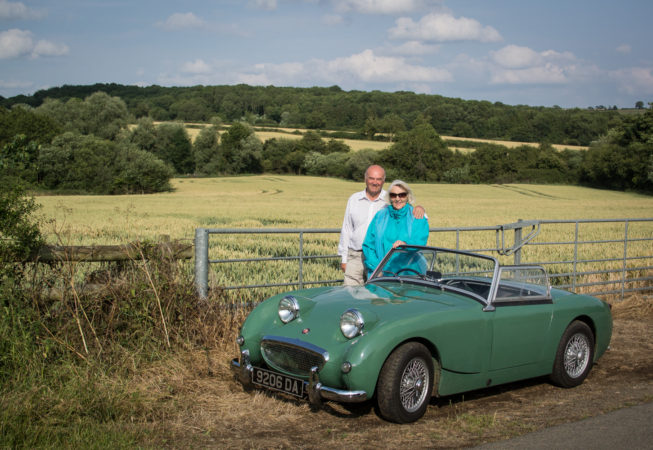 Austin Healey Sprite in the countryside